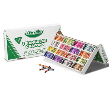 Triangular Crayons Classpack, 256 Count, 16 Colors