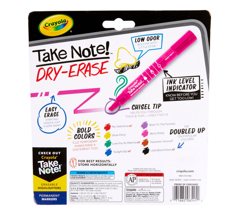 Take Note Dry Erase Markers, Chisel Tip, 12 Count
