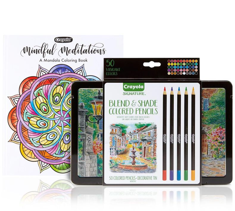 Mandala Coloring Book with Signature Colored Pencils