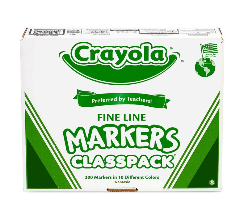 Crayola Fine Line Markers Classpack, 200 Count, 10 Colors