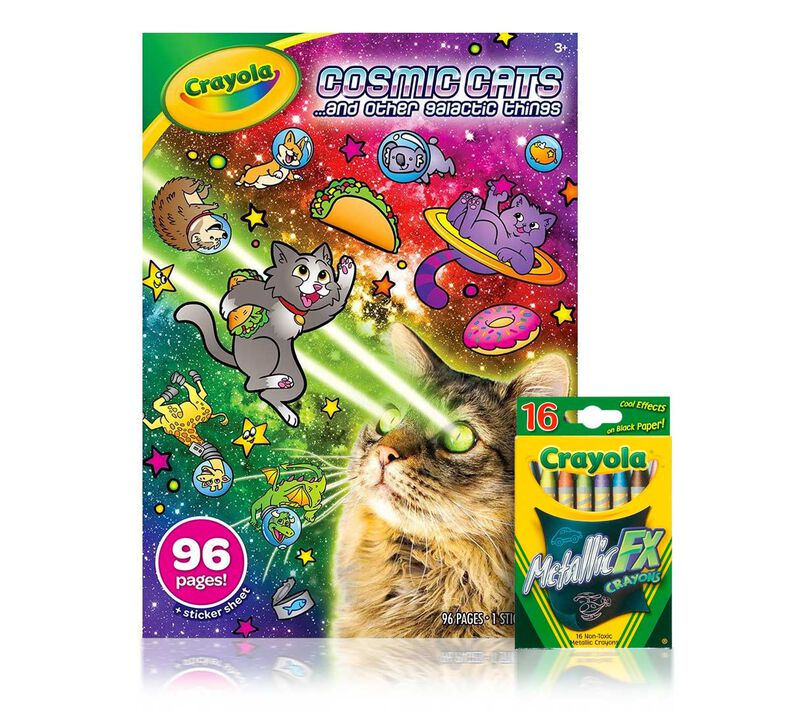Cosmic Cats Coloring Kit with Metallic Crayons