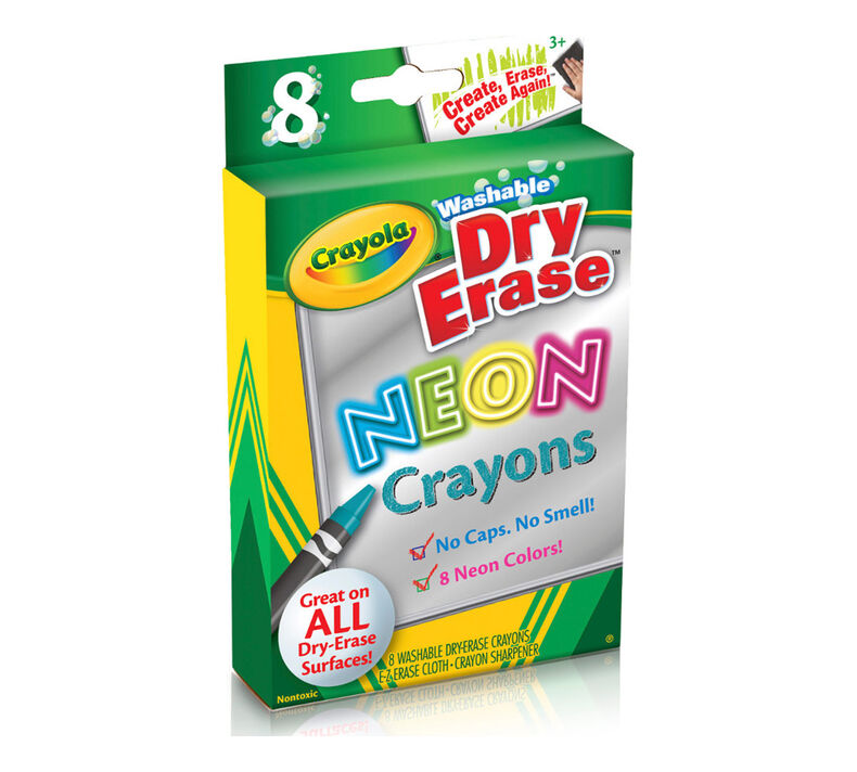 Neon Dry Erase Crayons, 8 Count