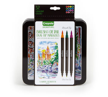 Signature 16 count Brush & Detail Dual Tip Markers  Front
