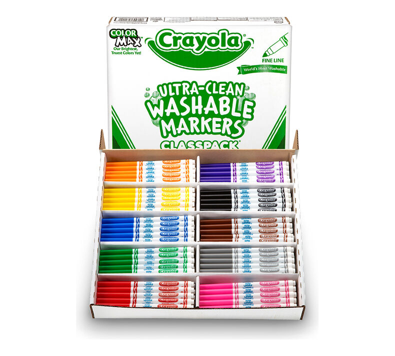 Ultra Clean Washable Fine Line Markers Classpack, 200 Count, 10 Colors