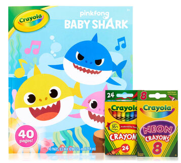 Baby Shark Coloring Book and Crayons Set Front View