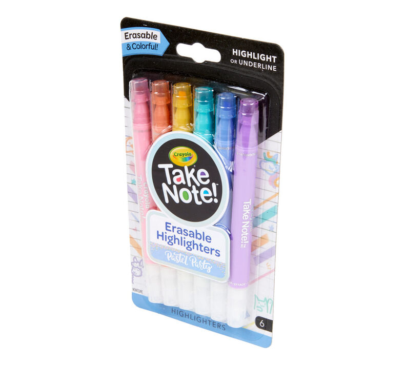 Take Note Erasable Highlighters, Pastel, 6 Count