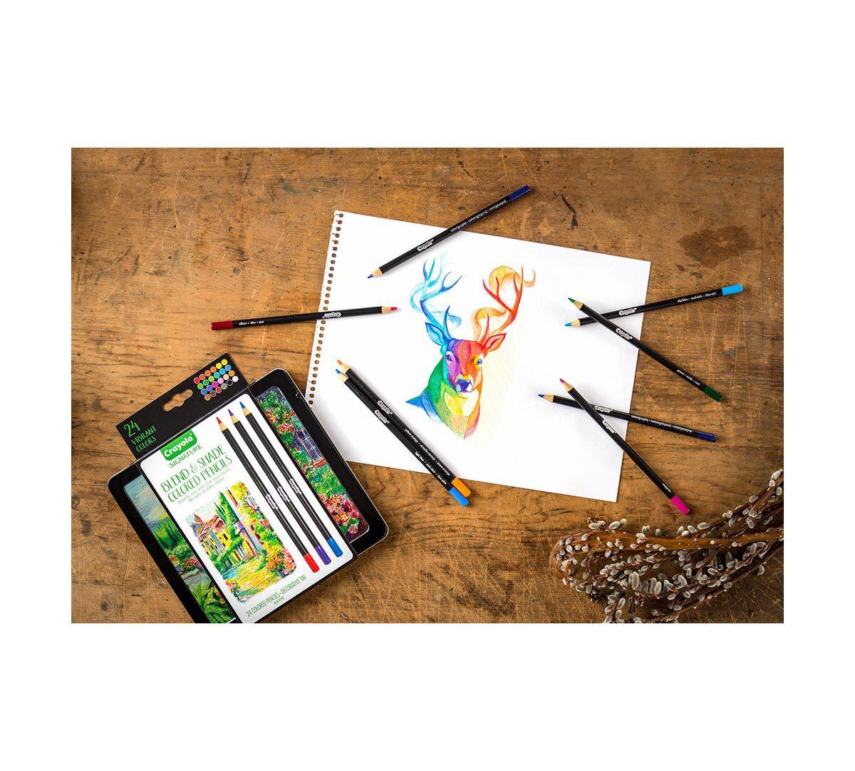 crayola signature blend shade colored pencils 50 ct storage tin