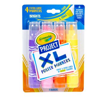 XL Poster Markers, Bright Colors, 4 Count