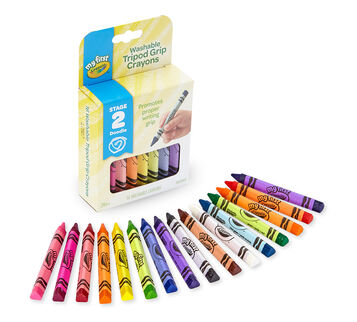 My First Washable Tripod Grip Crayons 16 count package and contents