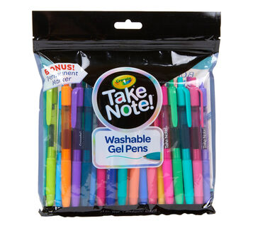 Take Note 24 Count Washable Gel Pens & 1 Bonus Permanent Marker