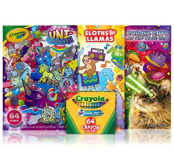 3 Animal Coloring Books with 64 Count Crayons Front View
