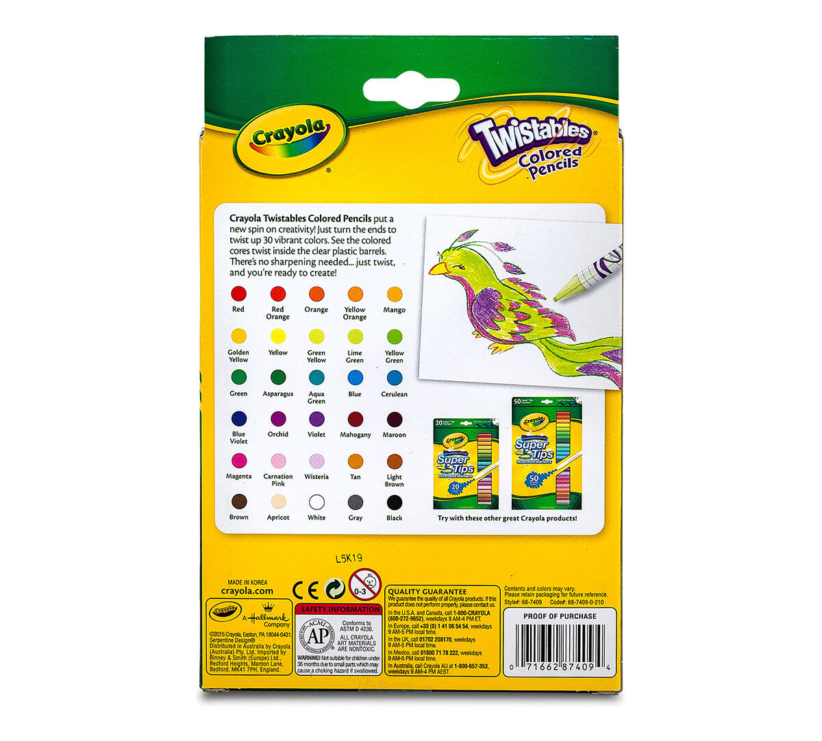 Crayola Twistables Colored Pencils Always Sharp Art Tools for Kids