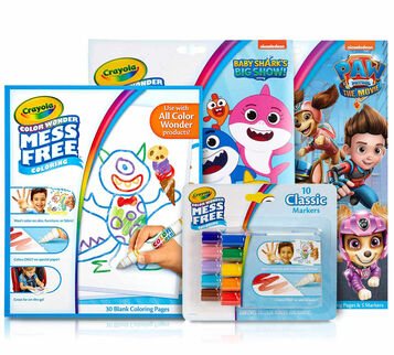 4-IN-1 Color Wonder Mess Free Coloring Gift Set  Color Wonder Refill Paper, Color Wonder Mess Free Markers Classic Colors, Color Wonder Mess Free Baby Shark's Big Show Coloring Pages, and Color Wonder Mess Free Paw Patrol Movie Coloring Pages & Markers