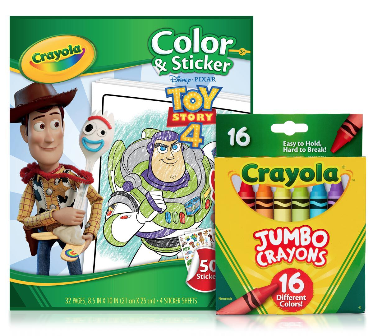 Toy Story 4 Color & Sticker Book with Jumbo Crayons