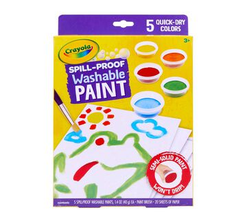 Spill Proof Washable Paints. 5 quick dry colors.  Front of Box