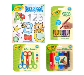 Young  Kids Art Supplies Preschool Activity Book Washable Tripod Grip Crayons Safety Scissors Tripod Grip Markers