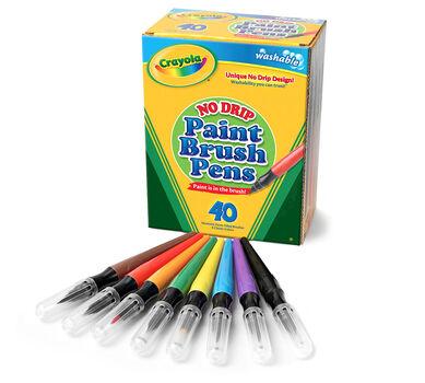No Drip Paint Brush Pens, 40 Count, 8 Colors