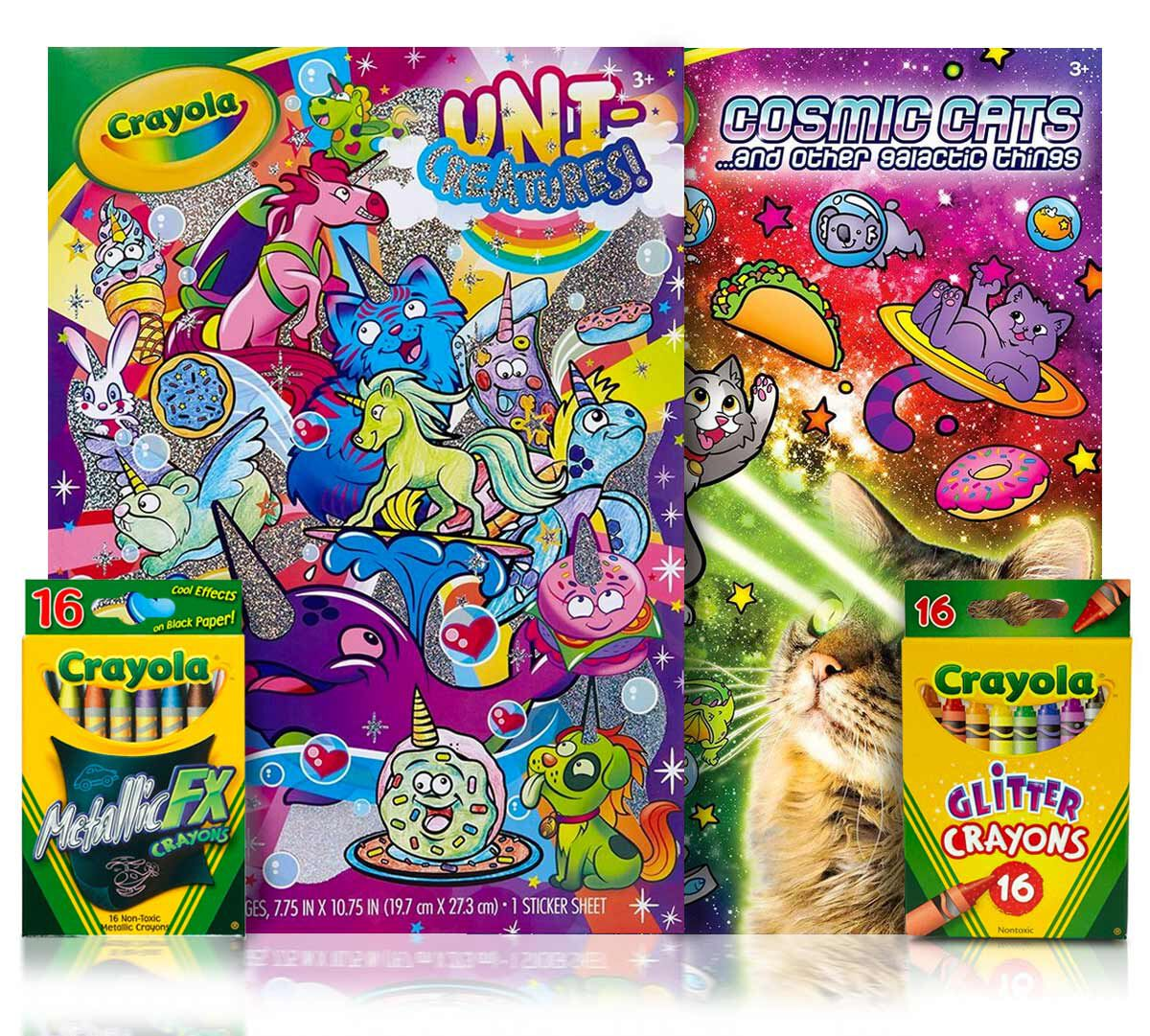 Uni-Creatures & Cosmic Cats Coloring Kitwith Crayons