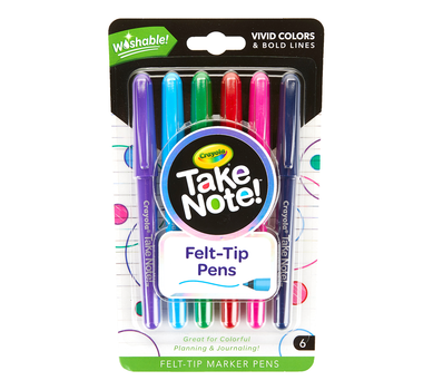 Take Note Washable Felt Tip Pens, 6 Count