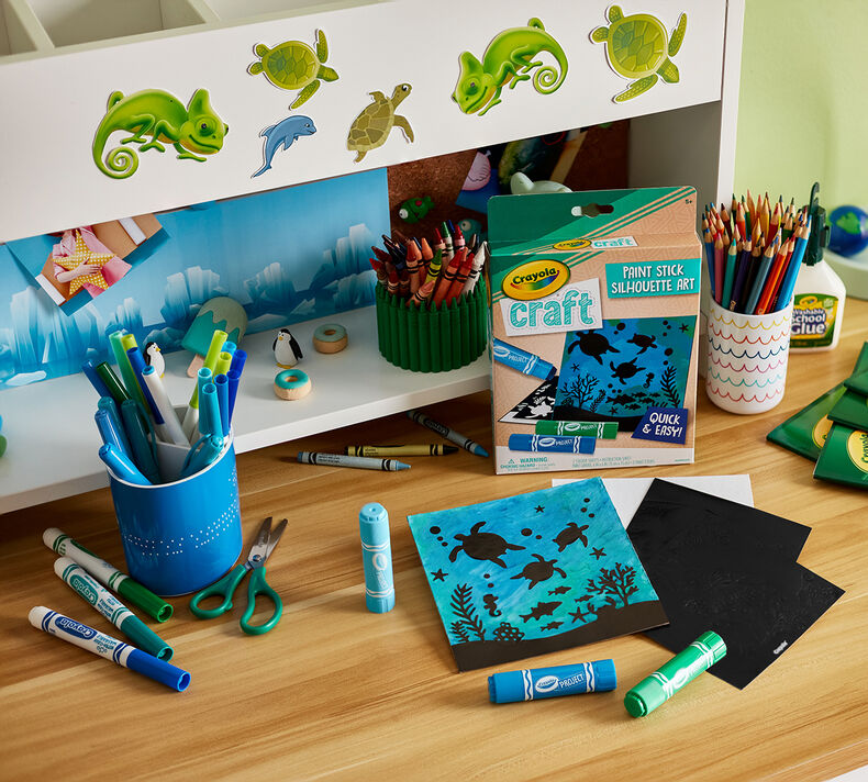 Crayola Craft Paint Stick Silhouette Art Kids Party Favors & Party Activity Set