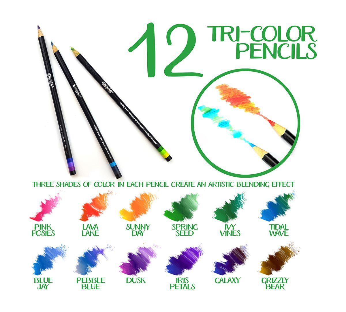 Crayola Signature; Tri-Color Pencils; 12 ct; 3 Colors in Each Pencil ...