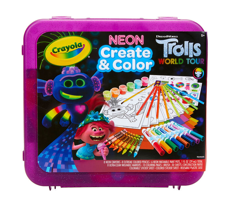 Trolls World Tour Neon Create & Color Art Set