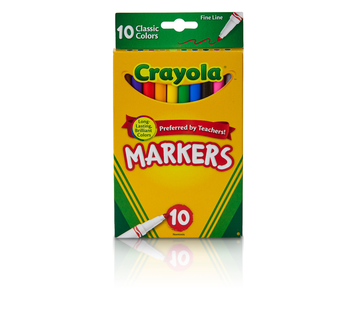 Fine Line Markers, Classic Colors, 10 Count Front View