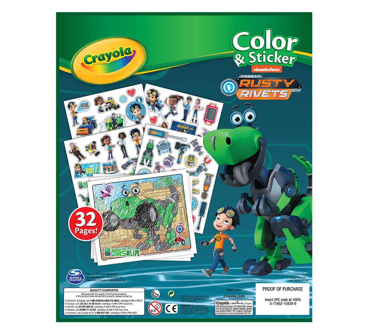 Crayola Rusty Rivets Color & Sticker Book, 32 Nickelodeon Coloring ...