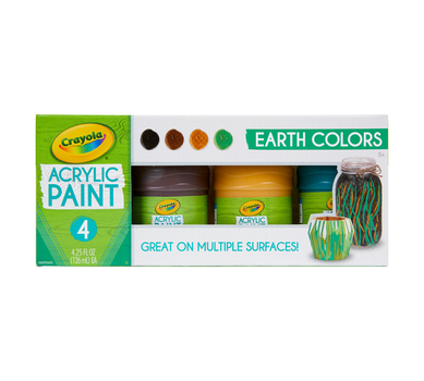 Multi-Surface Acrylic Paint, Earth Colors, 4 Count