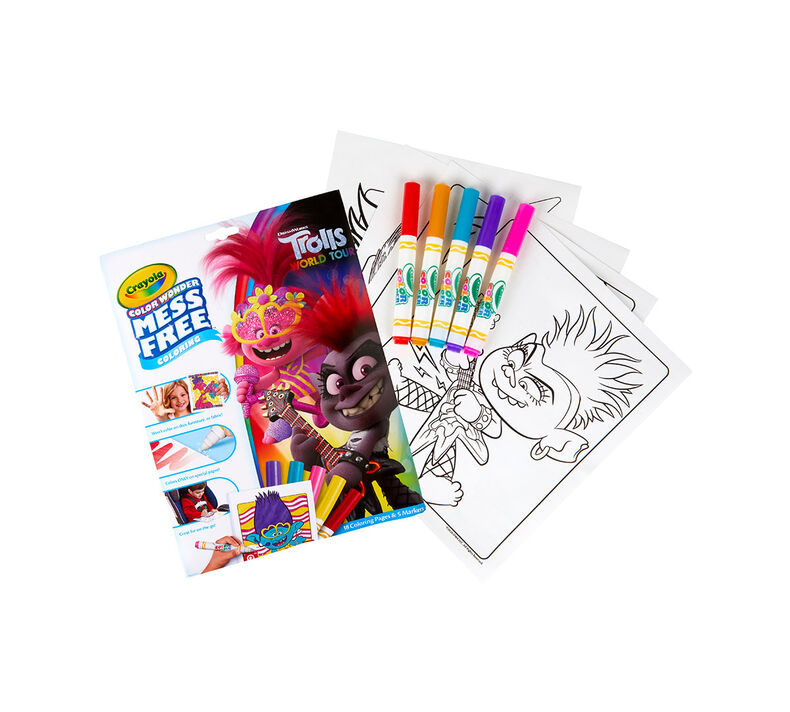 Color Wonder Mess Free Trolls World Tour Coloring Pages & Markers