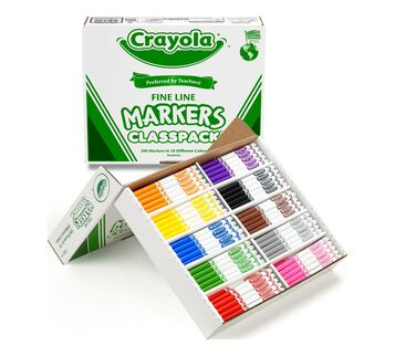200 Count Crayola Fine Line Markers Classpack Left Angle Open Box