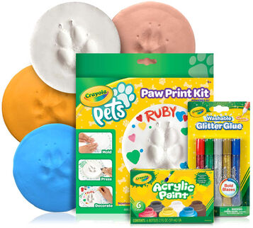 Crayola Pets Paw Print Circle Keepsake Kit with Extra Art Supplies
