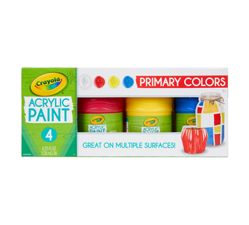 Multi-Surface Acrylic Paint, Primary Colors, 4 Count Front View