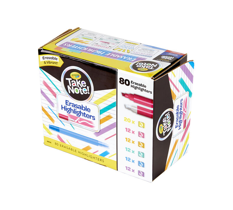 Take Note Erasable Highlighters Classpack, Bulk 80 Count