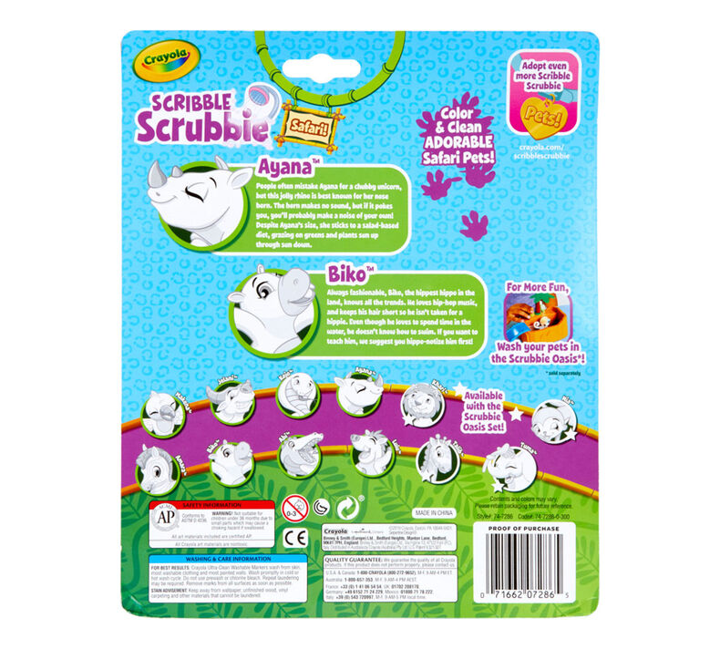 Scribble Scrubbie Safari Animals, Rhino & Hippo, 2 Count