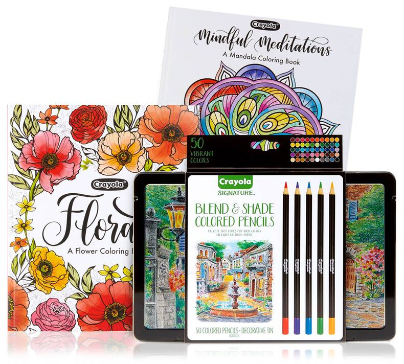 Mandala & Florals Coloring Books with Signature Colored Pencils