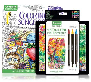 Lennon & McCartney Adult Coloring Kit, Sketch & Detail Markers Gift Set