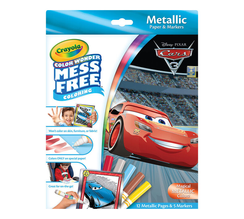 Color Wonder Mess Free Metallic Paper & Markers, Disney's Pixar Cars 3