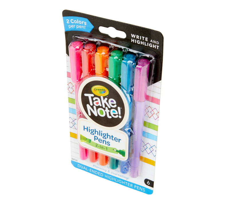 Crayola Take Note Dual Tip Highlighter Pens Assorted Colors 6 Count