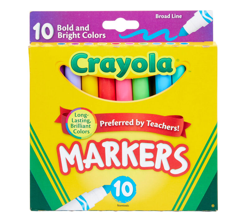 Broad Line Markers, Bold & Bright Colors, 10 Count