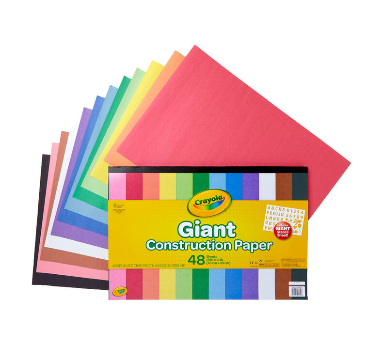 Giant Construction Paper with Stencils, 48 Count