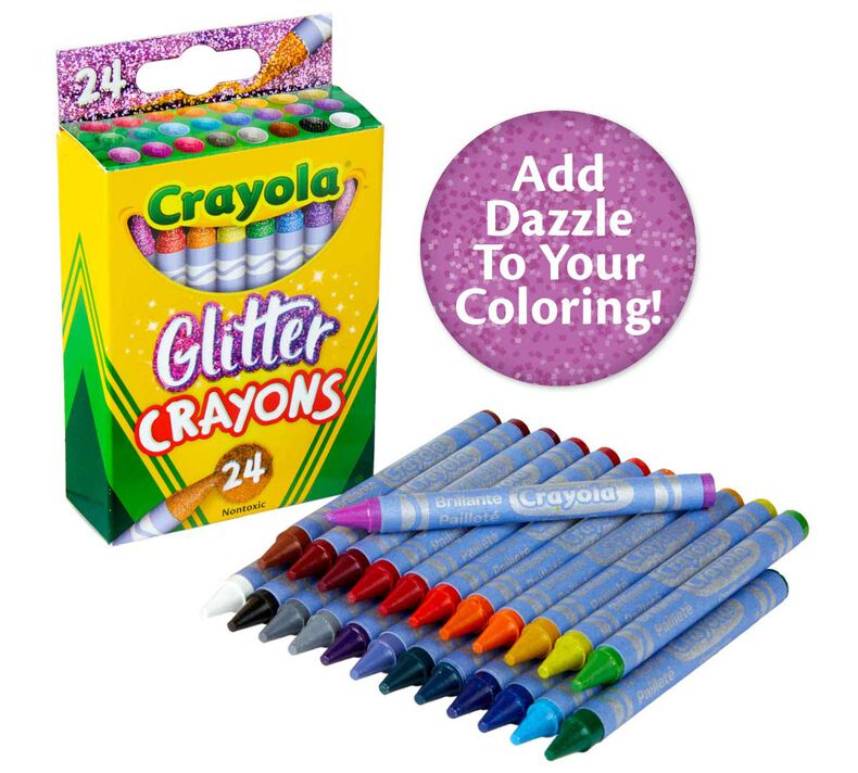 Glitter Crayons, 24 Count