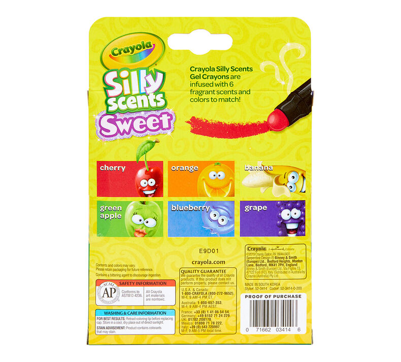Silly Scents Gel Crayons, Sweet Scents, 6 Count