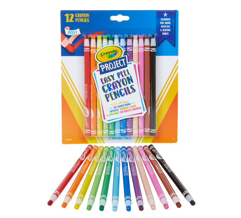 Easy Peel Crayon Pencils, 12 Count