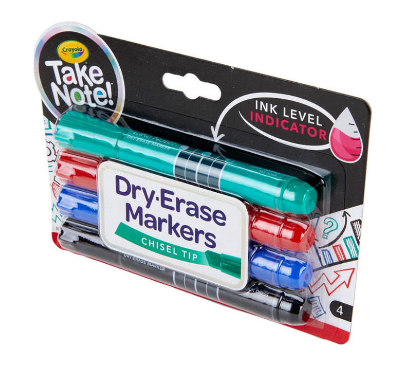 Take Note Dry Erase Markers, Chisel Tip, 4 Count