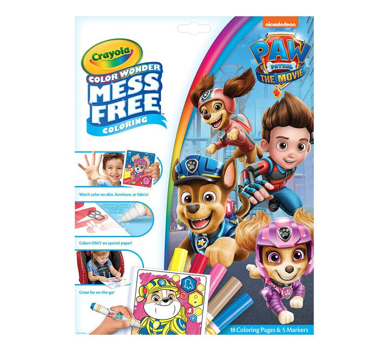 Color Wonder Mess Free Paw Patrol Movie Coloring Pages & Markers