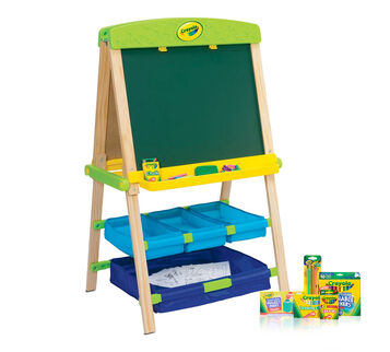 Draw n Store Wood Easel Deluxe Kit Front View of Easel and Components