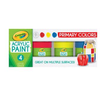 Multi-Surface Acrylic Paint Primary Colors, 4 Count