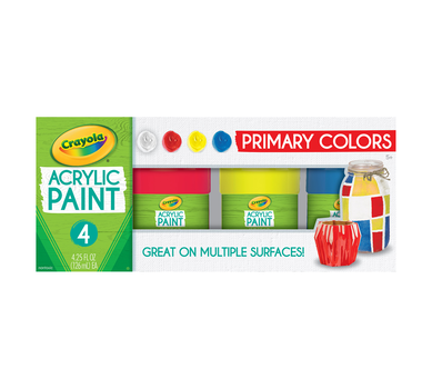 Multi-Surface Acrylic Paint, Primary Colors, 4 Count