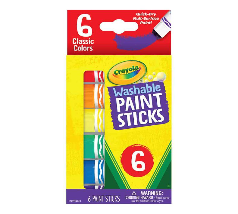 Washable Paint Sticks, Kids Paint Set, 6 Count